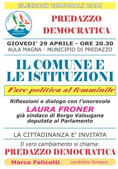 marco felicetti froner Incontro PREDAZZO DEMOCRATICA  con l'on. Froner