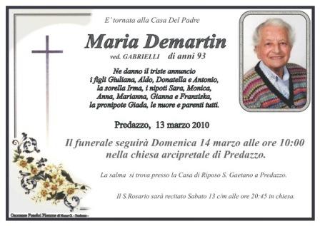 necrologio maria demartin predazzo1 Necrologia Predazzo: Maria Demartin ved. Gabrielli e Maria Elisa Fattori in Bucci
