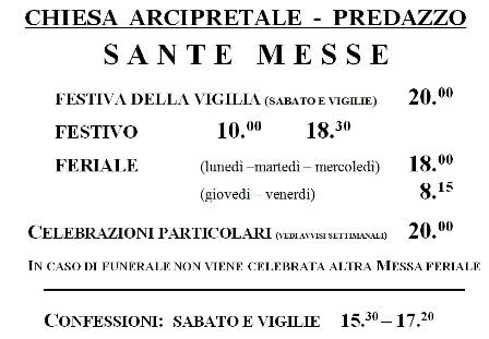 parrocchia di predazzo orari messe 2010 Parrocchia di Predazzo, variazione orari delle S. Messe e avvisi settimanali (21 febbraio – 28 febbraio)