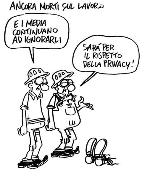 vignetta lavoro incidenti In Italia 10000 morti sul lavoro ogni anno