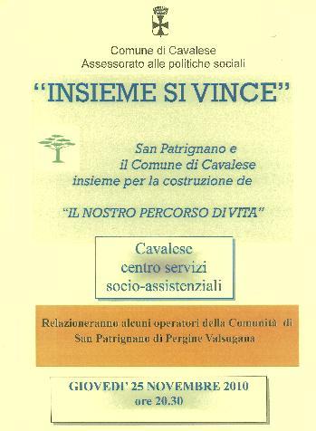 locandina insieme si vince cavalese Cavalese, incontro con gli operatori della Comunità di San Patrignano
