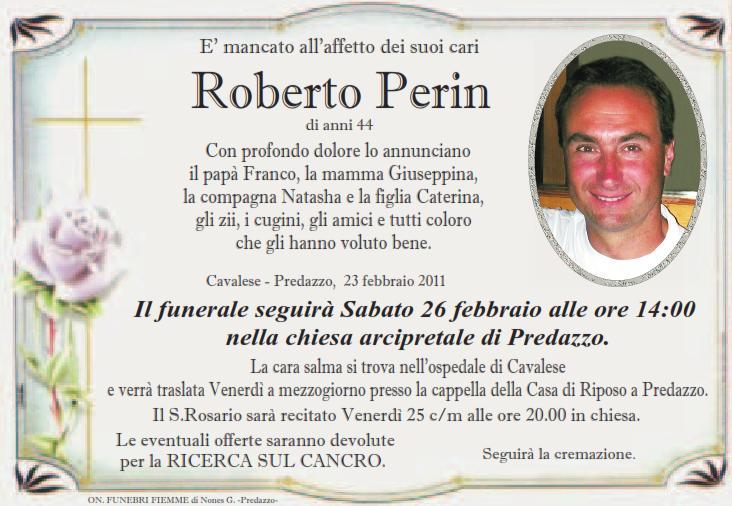 roberto perin Predazzo necrologi, Roberto Perin