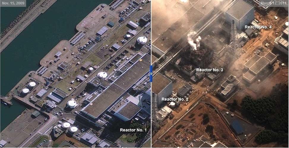 centrale nucleare giappone prima e dopo Le impressionanti foto satellitari del Giappone, prima e dopo il terremoto e lo tsunami