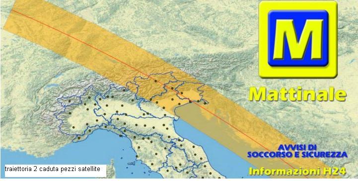 traiettoria 2 caduta pezzi satellite nasa nord italia Satellite in caduta sul nord Italia tra il 23 e 24 settembre, Protezione Civile in allerta.