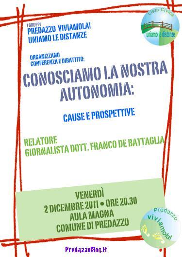 autonomia debattaglia predazzo blog Predazzo incontra Franco de Battaglia, diretta WebTV questa sera ore 20.30