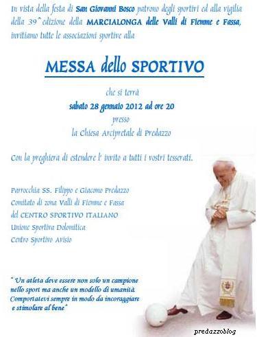 messa dello sportivo predazzo blog1  Predazzo, invito alla Messa dello sportivo. Sabato 29 gennaio
