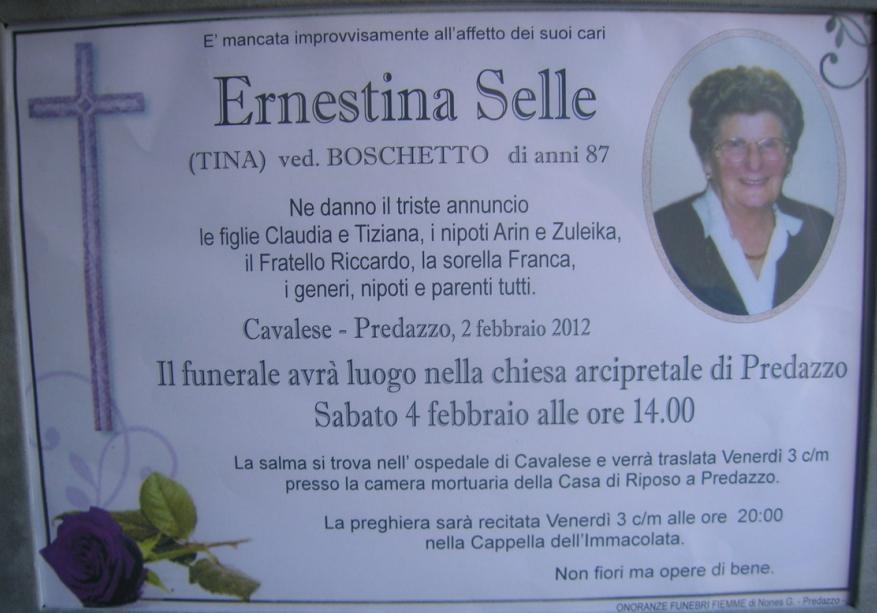enrestina selle tina boschetto Predazzo necrologi Ernestina Selle (Tina Boschetto)