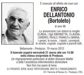 necrologi enrico dellantonio bortoletto Predazzo necrologi: Enrico Dellantonio (Bortoleto)