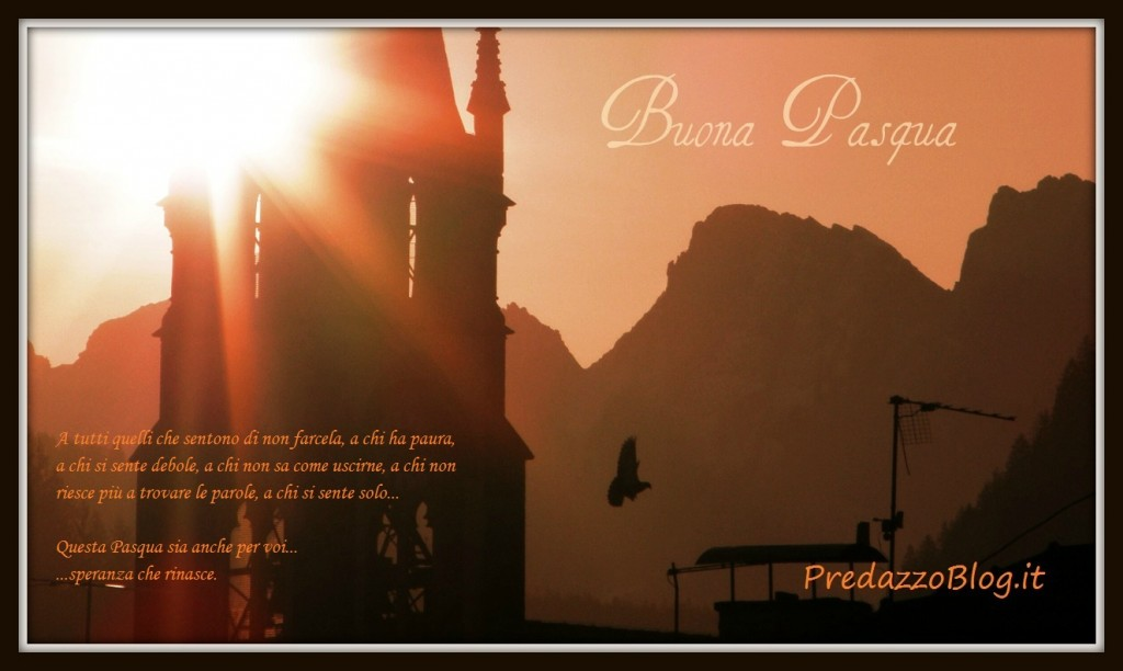 predazzo alba sulla chiesa parrocchiale pensiero buona pasqua ph mauro morandini predazzo blog 1024x612 Predazzo, avvisi della Parrocchia dal 8 al 15 aprile