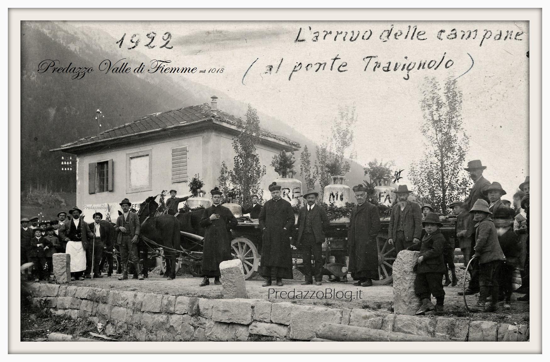 """arrivo campane a predazzo 1922 cornice predazzo blog  """"Alla scoperta del nostro paese"""" i cambiamenti visti dagli studenti"""