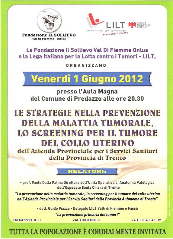 locandina il sollievo 1 giugno 2012 predazzo blog Predazzo, serata sulla prevenzione dei tumori   venerdì 1 giugno