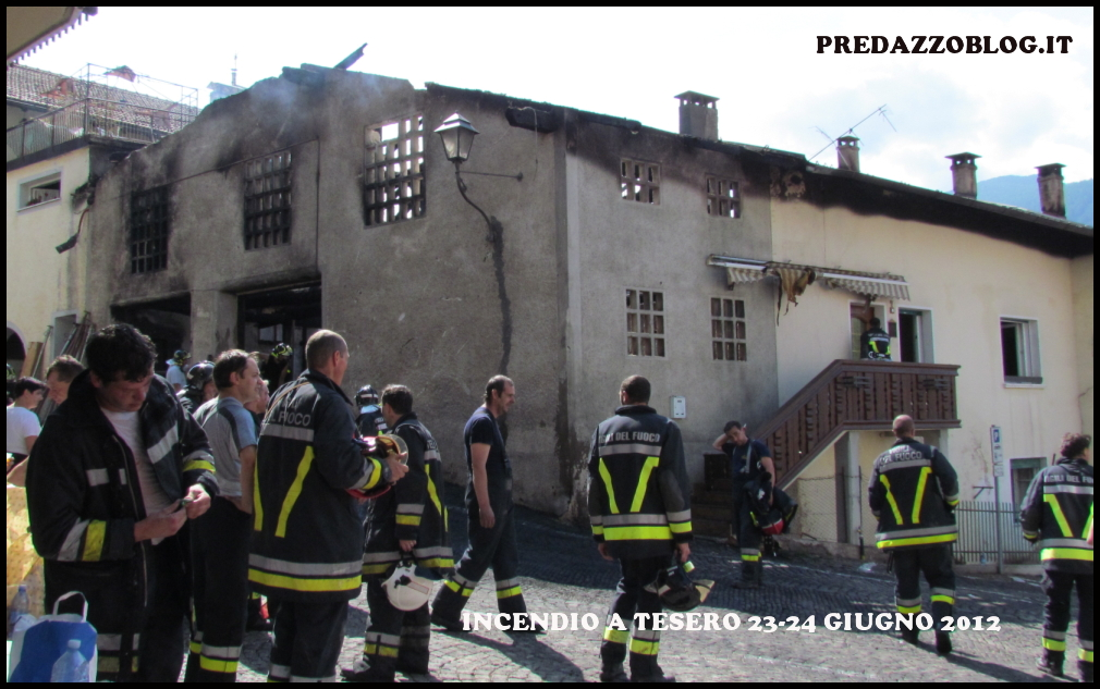 incendio a Tesero 1 giorno 24.6.12 Pauroso incendio a Tesero nella notte di sabato