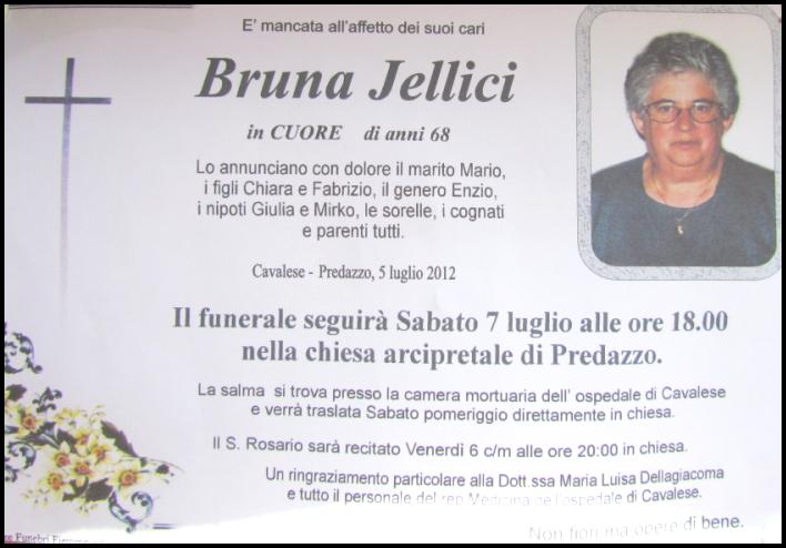 bruna iellici cuore bellamonte Bellamonte necrologio,  Bruna Iellici in Cuore