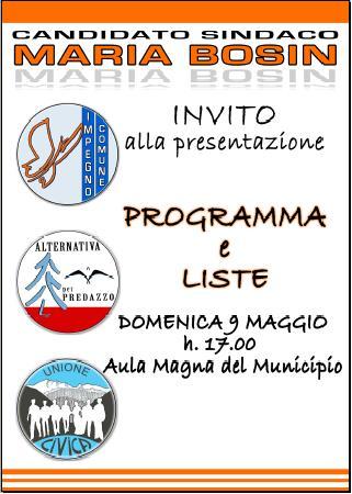 presentazione liste maria bosin Predazzo, la brochure con le foto dei candidati che sostengono Maria Bosin