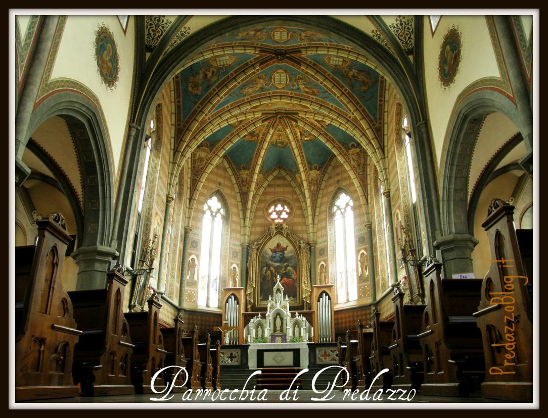 Interno Chiesa Predazzo Presbiterio Scritta Predazzoblog