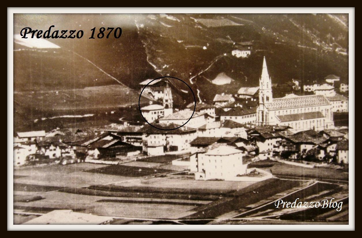 predazzo storica con campanile vecchio cerchiato cornice predazzo blog Agosto 1883 la cucina dei poveri di Predazzo