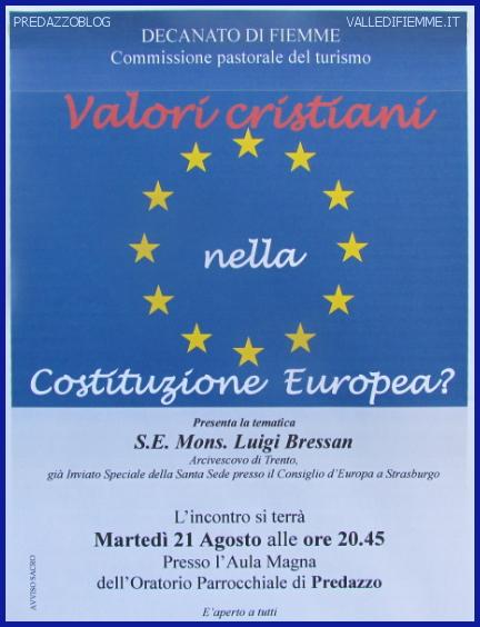 vescovo bressan costituzione europea fiemme predazzo blog Predazzo, incontro con il Vescovo di Trento Luigi Bressan Valori Cristiani nella Costituzione Europea