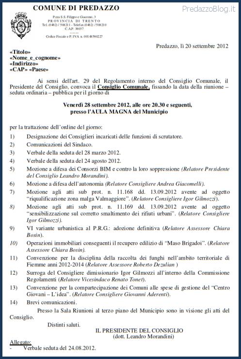 consiglio comunale 28 settembre 2012 predazzo blog  Predazzo, convocazione del Consiglio Comunale 28.9.2012