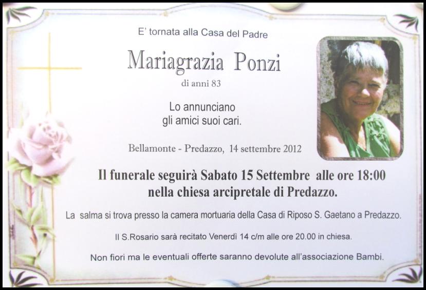 mariagrazia ponzi Predazzo   Bellamonte, necrologio Mariagrazia Ponzi