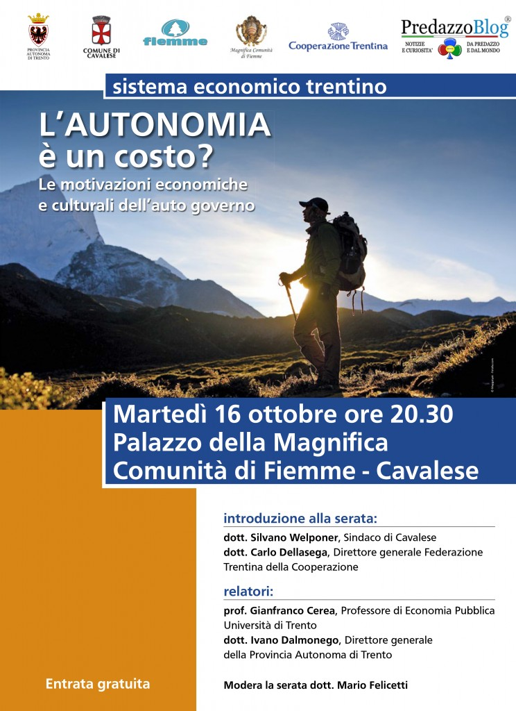 Locandina costo autonomia 744x1024 Lautonomia è un costo? il 16 ottobre conferenza presso il Palazzo della Magnifica Comunità