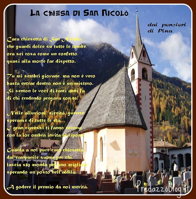 chiesa di san nicolò 1 1 novembre, Festa di Tutti i Santi   Poesia La Chiesa di San Nicolo di Predazzo