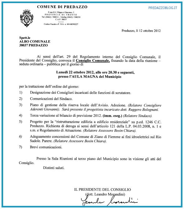 convocazione consiglio comunale predazzo 22 ottobre 2012 predazzoblog  Predazzo, convocazione del Consiglio Comunale 22.10.2012