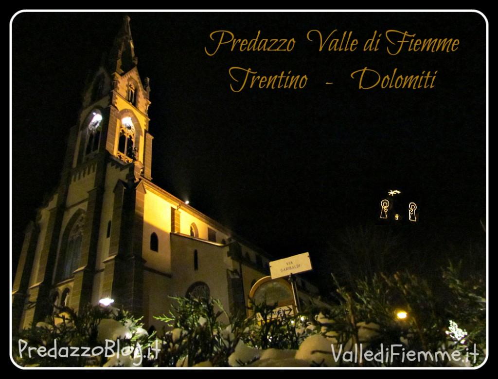 chiesa predazzo con natività illuminata predazzoblog 1024x781 Predazzo, avvisi della Parrocchia dal 16 al 23 dicembre