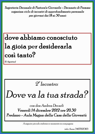 locandina giovani fiemme Secondo incontro per giovani: Dove va la tua strada con don Andrea De Carli