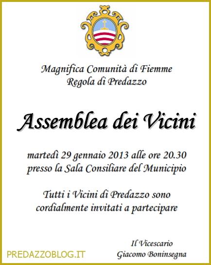 ASSEMBLEA VICINI FIEMME PREDAZZO BLOG Magnifica Comunità di Fiemme, assemblea dei Vicini della Regola di Predazzo