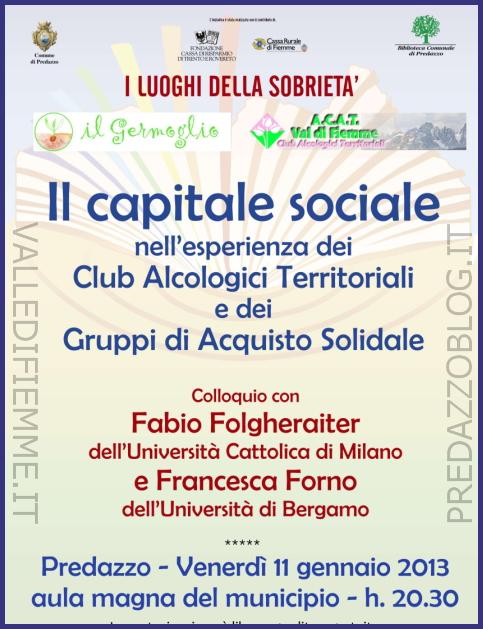 il capitale sociale predazzo blog Predazzo, il capitale sociale nellesperienza dei CAT e dei GAS