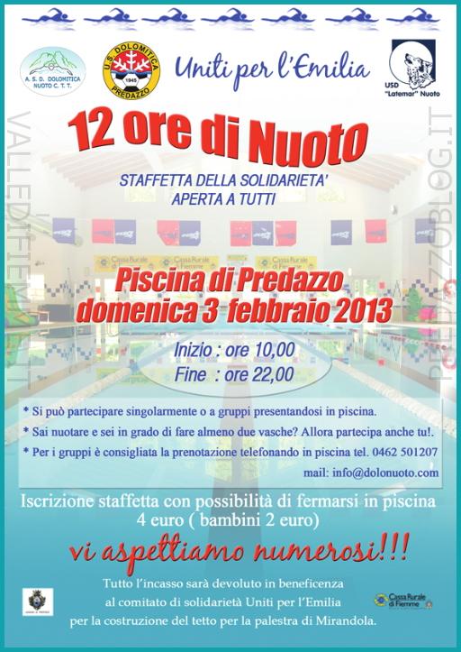 locandina dolo nuoto staffetta per l emilia predazzoblog Predazzo, Staffetta di Solidarietà 12 ore di nuoto per il Comitato Uniti per lEmilia