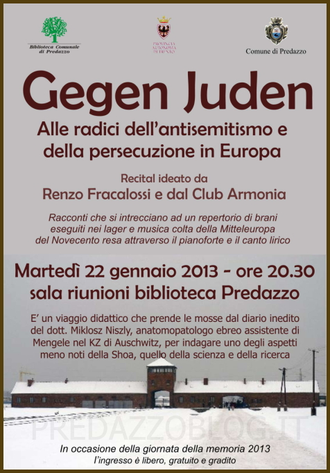 locandina gegen junden predazzoblog Predazzo, Gegen Juden recital per la giornata della memoria