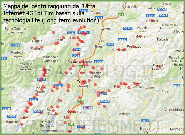 "mappa trentino ""Ultra Internet 4G"" di Tim basati sulla tecnologia Lte Long term evolution predazzo blog valle di fiemme it Attiva da oggi la rete 4G   Lte in Fiemme e Fassa che può creare interferenze alle TV"