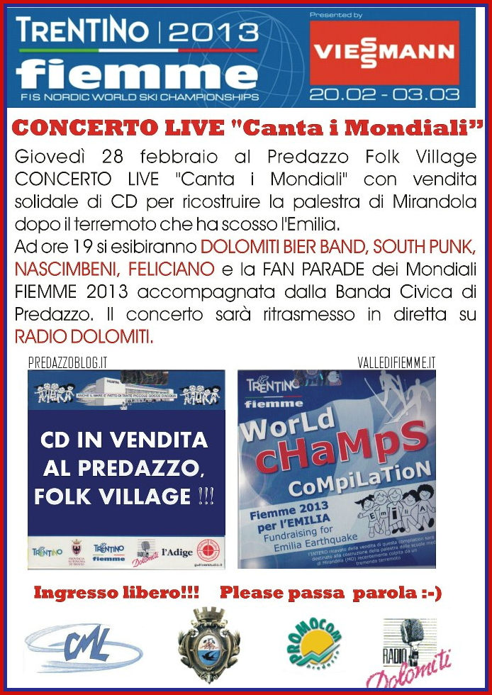 concerto live canta i mondiali predazzo fiemme 2013