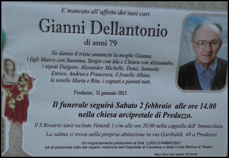 gianni dellantonio Predazzo necrologi, Gianni Dellantonio   Gina Moncher   Giuseppe Giacomelli