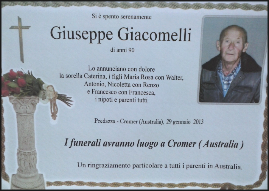 giuseppe giacomelli Predazzo necrologi, Gianni Dellantonio   Gina Moncher   Giuseppe Giacomelli