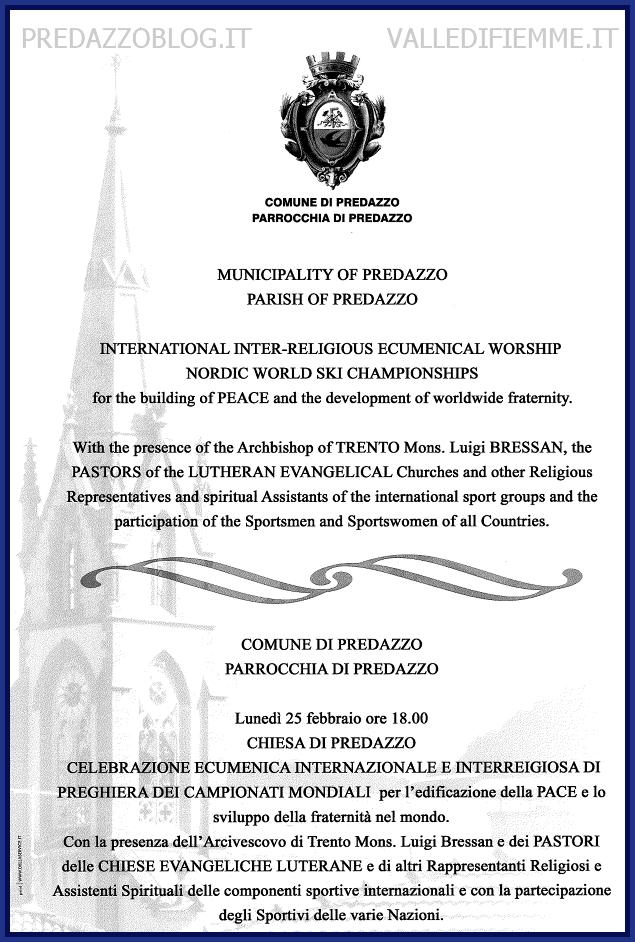 locandina vescovo a predazzo fiemme 2013 Celebrazione ecumenica internazionale e interreligiosa di preghiera dei Campionati Mondiali per la pace con il vescovo Luigi Bressan