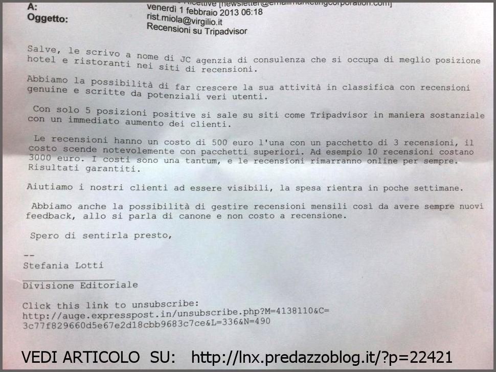 proposta di falsi commenti su tripadvisor 500 euro per una falsa recensione positiva su Tripadvisor, ma il Ristorante Miola di Predazzo non ci sta e chiama il Gabibbo