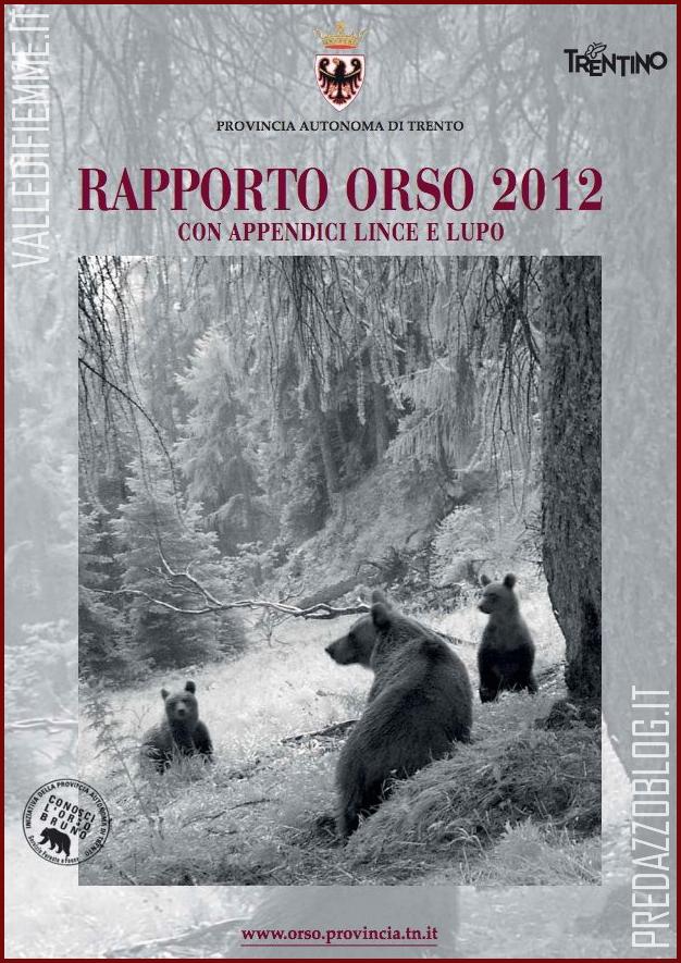 RAPPORTO ORSO 2012 TRENTINO Orso, lupo e lince in Trentino: quanti sono e dove vivono. Il rapporto 2012