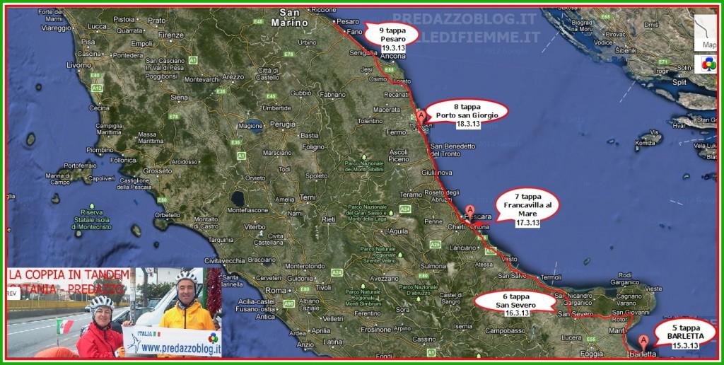cartina coppia in tandem 9 tappa pesaro predazzo blog 1024x516 Pedalata da Catania a Predazzo: La Coppia in Tandem fa tappa a Matera + Aggiornamenti quotidiani