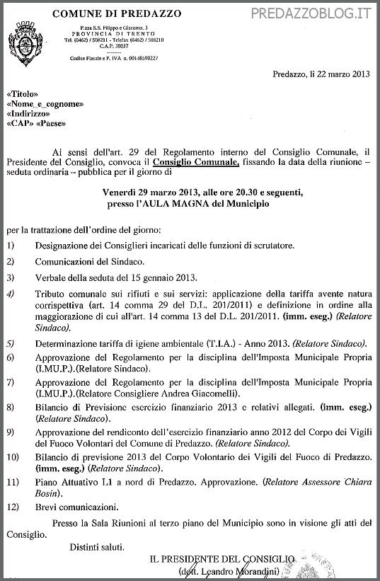 consiglio comunale marzo 2013 predazzoblog1 Predazzo, convocazione del Consiglio Comunale 29 marzo 2013
