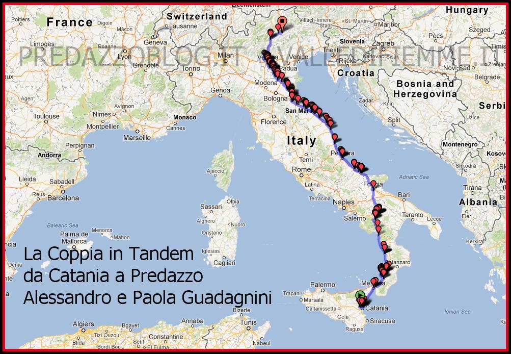 coppia in tandem cartina alessandro e paola guadagnini predazzo blog Pedalare in tandem da Catania a Predazzo, 1600 km con Paola e Alessandro Guadagnini