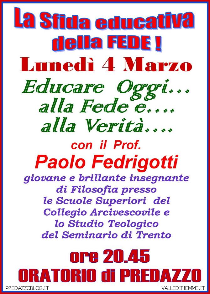 sfida educativa parrocchia predazzo Predazzo avvisi della parrocchia dal 3 al 10 marzo