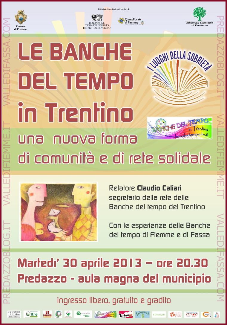 """banche del tempo serata predazzo fiemme """"Le Banche del tempo in Trentino: una  nuova forma di comunità e di rete solidale"""""""