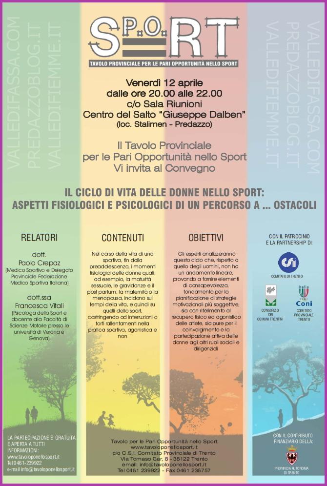 ciclo di vita donne nello sport Il Ciclo di Vita delle Donne nello Sport, convegno a Predazzo