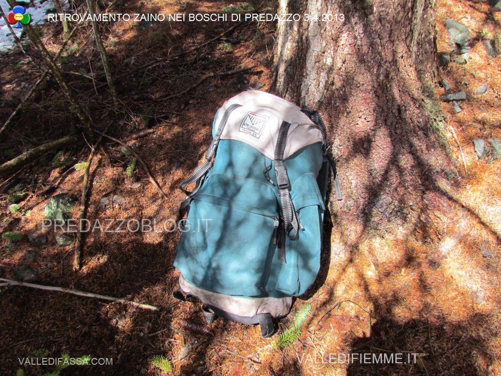 ritrovamento zaino nei boschi di predazzo 3 aprile201330