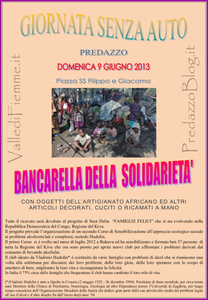 bancarella solidarieta suor delia 710x1024 Predazzo, bancarella della solidarietà alla Giornata senzAuto 2013