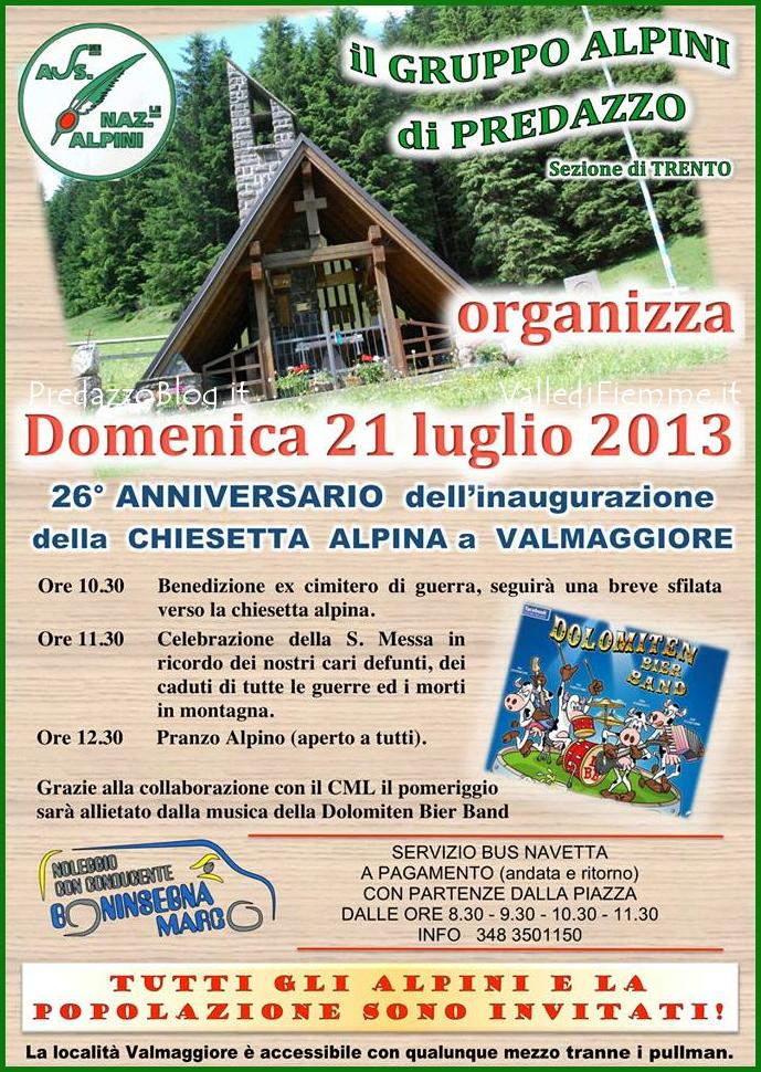 alpini chiesetta valmaggiore predazzo 21 luglio 2013