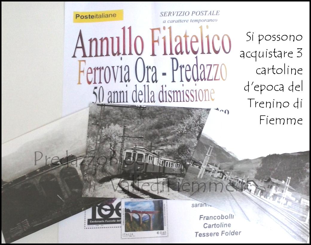 cartoline trenino fiemme predazzo Annullo filatelico Ferrovia Ora   Predazzo al Museo Geologico delle Dolomiti