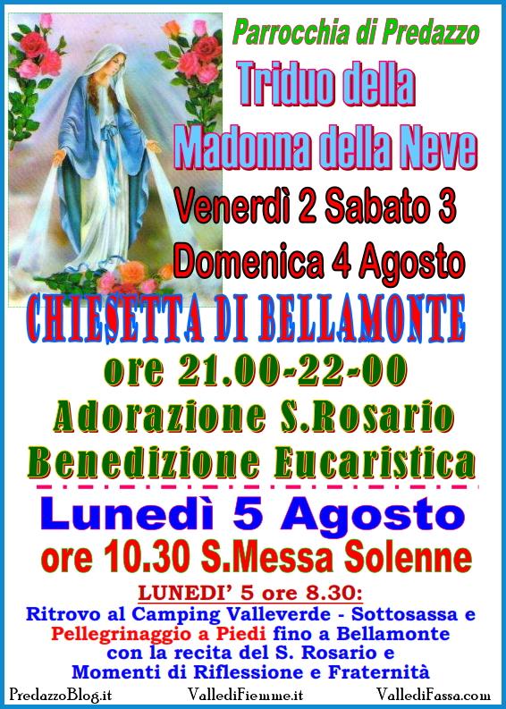 madonna della neve bellamonte predazzo Predazzo, avvisi della Parrocchia dal 4 al 11 agosto